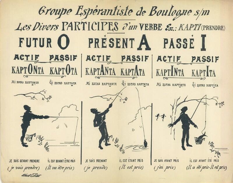 Wandtafel: Groupe Espérantiste de Boulogne s/m: Les divers participes d'un verbe : ex.: kapti (prendre)
