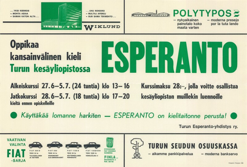 Plakat: Esperanto: oppikaa kansainvälinen kieli turun kesäyliopistossa ...