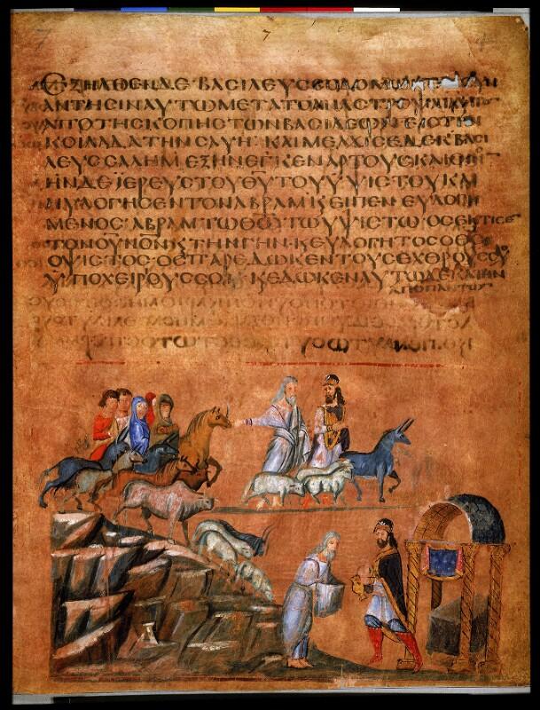 214 Sterreichische Nationalbibliothek Cod Theol Gr 31 Fol 4r Wiener Genesis Abraham Und