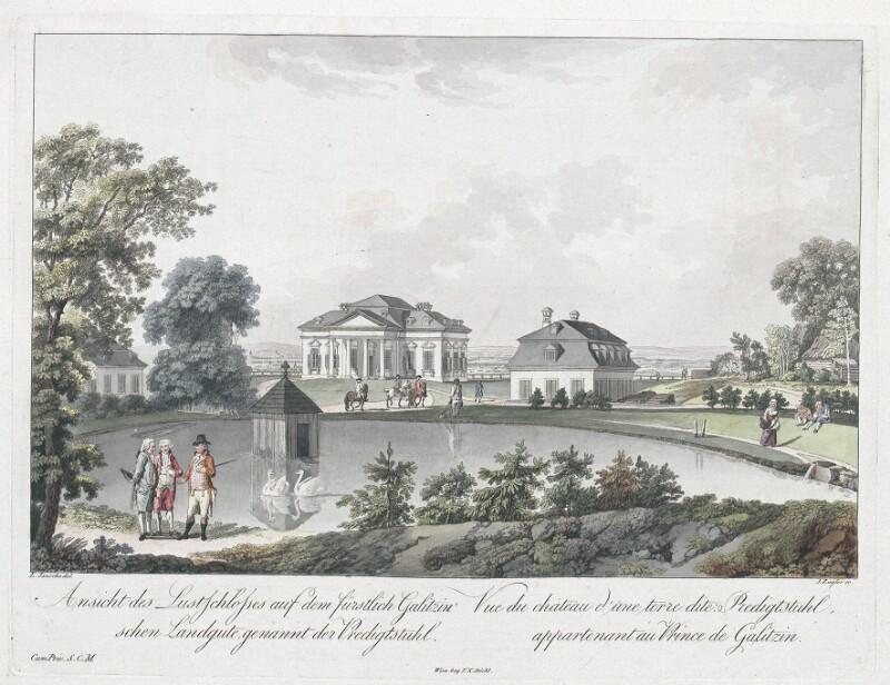 Ansicht des Lustschlosses auf dem fürstlich Galitzin'schen Landgute genannt der Predigtstuhl. - Vue de chateau d'une terre dite Predigtstuhl, appartenant au Prince de Galitzin