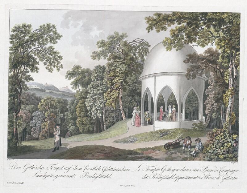Der Gothische Tempel auf dem fürstlich Galitzin'schen Landgute, genannt Predigtstuhl. - Le Temple Gothique dans un Bien de Campagne, dit: Predigtstuhl appartenant au Prince de Galitzin.