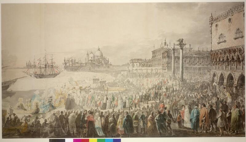 Einzug von Kaiser Franz I und Kaiserin Maria Ludovika in Venedig 1815 von Hoechle, Johann Nepomuk