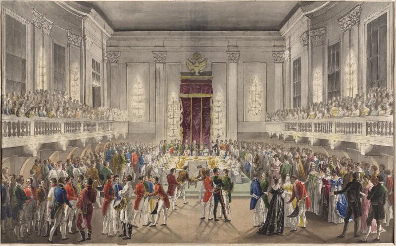 Feierliche Tafel im Großen Redoutensaal anlässlich der Vermählung von Kaiser Franz II./I. und Prinzessin Karoline Auguste von Bayern am 10. November 1816  von Hoechle, Johann Nepomuk