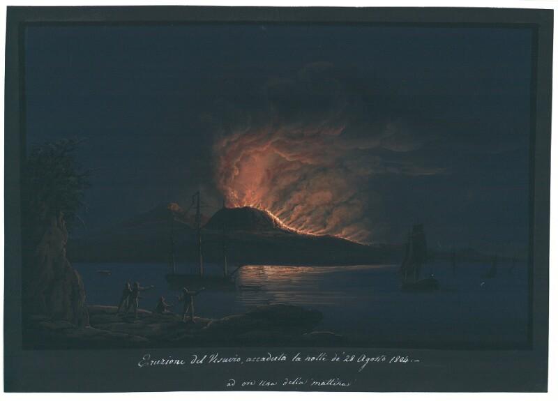 Eruzione del Vesuvio, accaduto la notte de' 28 Agosto 1804. - ad ora una della mattina