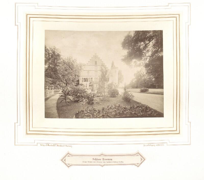 Ansicht des Schlosses Rosenau um 1870 von A. Mencke & Co.