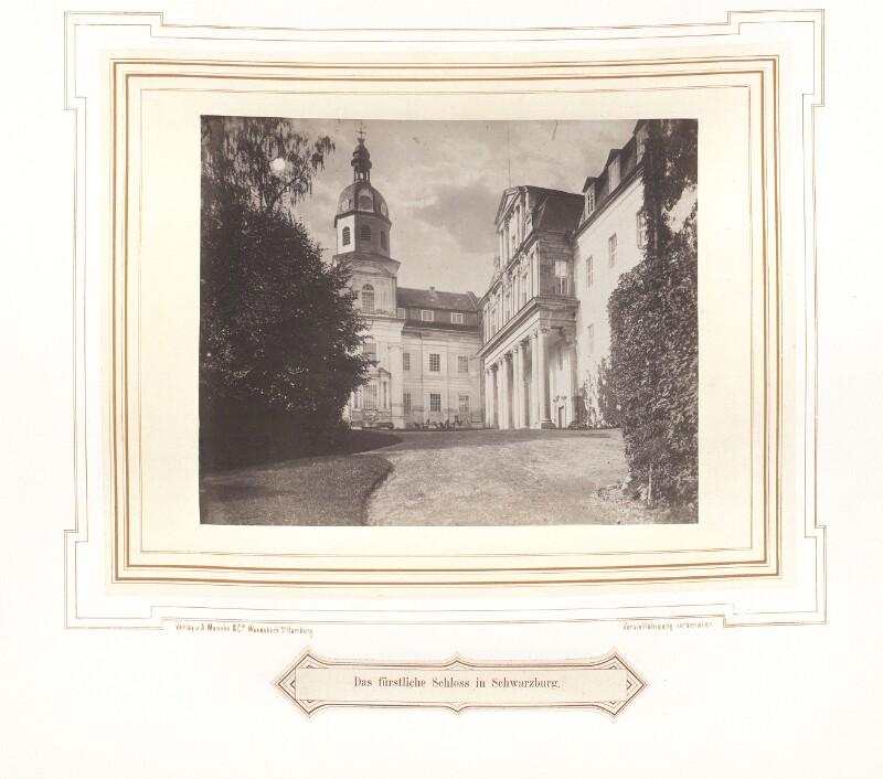 Ansicht des Schlosses Schwarzburg um 1870 von A. Mencke & Co.