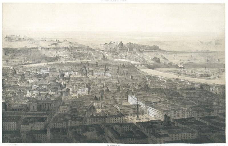 Rome. Vue prise au dessus de la Place Colonne von Guesdon, Alfred
