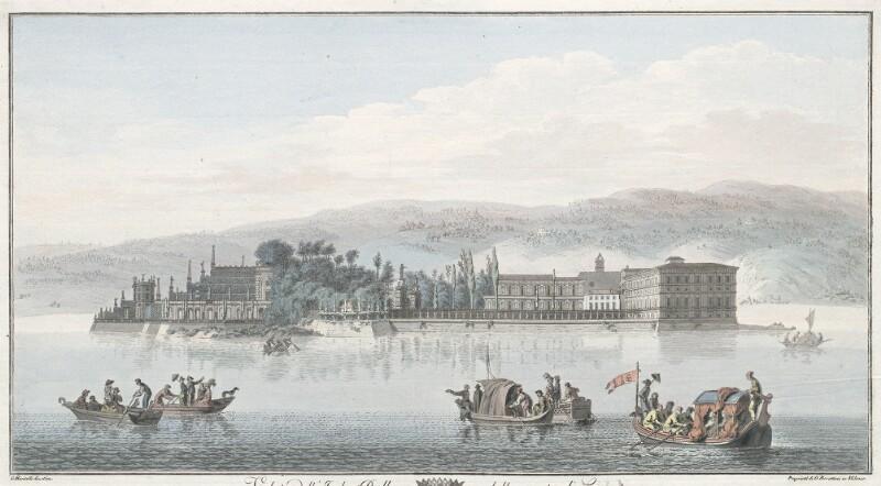 Veduta dell'Isola Bella dalla parte di Levante. Quest' Isola fu fatta costruire dal Conte Vitaliano V l'anno 1665 di poi ampliata da suoi Successori von Mantelli, Girolamo