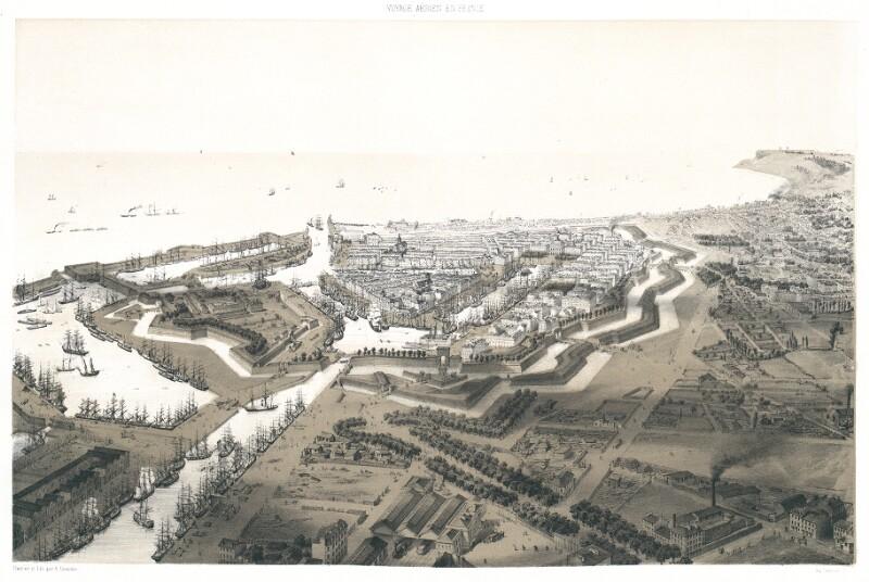 Le Havre. Vue prise au dessus du Chemin de fer et du Bassin Vauban von Guesdon, Alfred