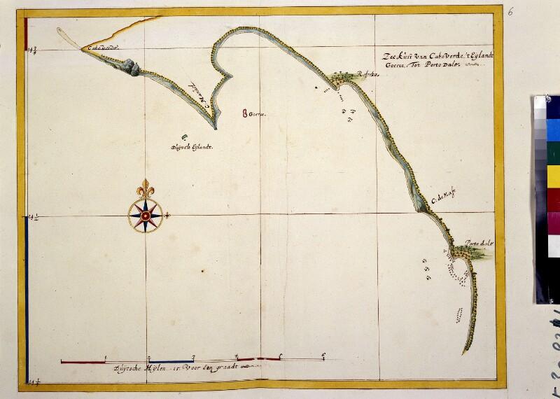 Landkarte der Küste nahe Cape Verde von Vingboons, Johannes