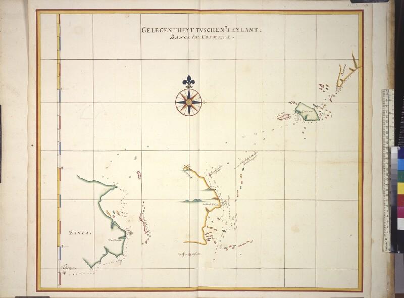 Karte der Karimata-Straße zwischen Bangka und Borneo von Vingboons, Johannes