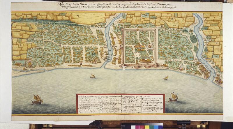 Plan der Festung Samboppe und der Stadt Makassar von Vingboons, Johannes