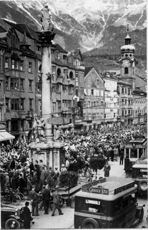 Demonstration in Innsbruck wegen des NSDAP-Verbotes