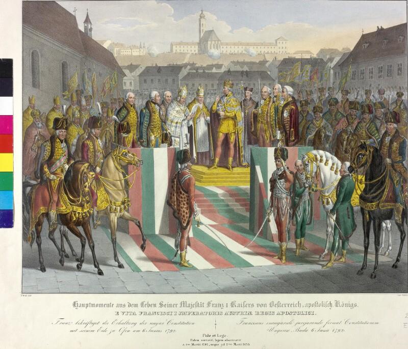 Krönung Kaiser Franz II. zum König von Ungarn in Ofen 1792 von Hoechle, Johann Nepomuk