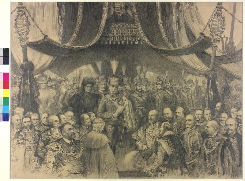 Eröffnung der Millenniumsausstellung in Budapest durch Kaiser Franz Joseph 1896 von Halmi, Arthur Lajos