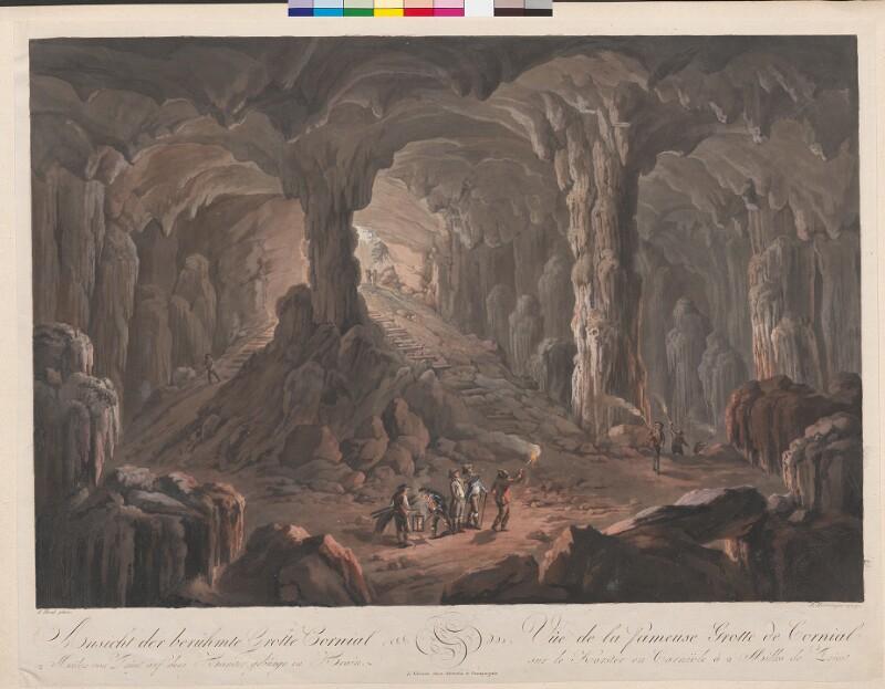 Ansicht der berühmte (!) Grotte Cornial 2 Meilen von Triest auf dem Karstgebürge in Krain. Vue de la fameuse Grotte de Cornial sur le Karster en Carniole à 2 Milles de Triest von Runk, Ferdinand