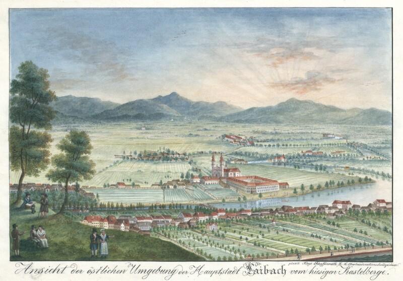Ansicht der östlichen Umgebung der Hauptstadt Laibach vom hiesigen Kastelberg von Schaffenrath, Alois