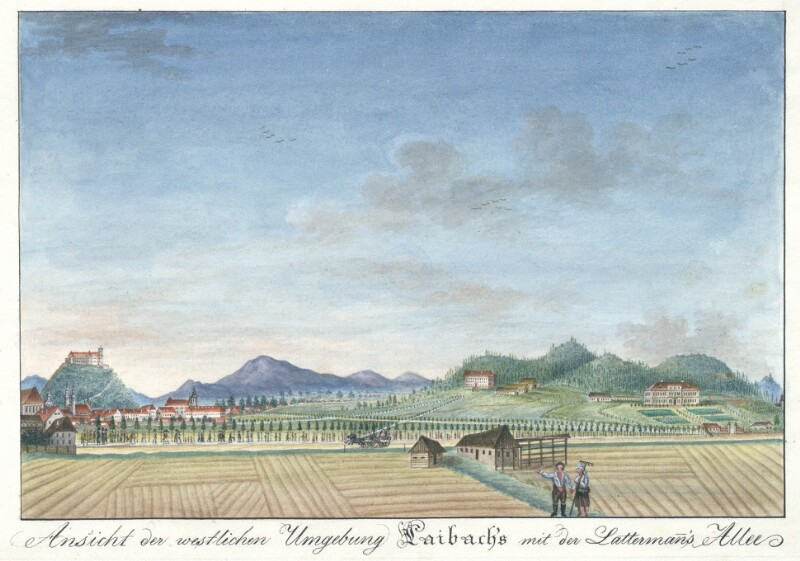 Ansicht der westlichen Umgebung Laibachs mit der Lattermann's Allee von Schaffenrath, Alois