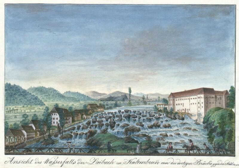 Ansicht des Wasserfalls der Laibach zu Kaltenbrunn von der dortigen Brücke gegen der Stadt zu sehen. von Schaffenrath, Alois