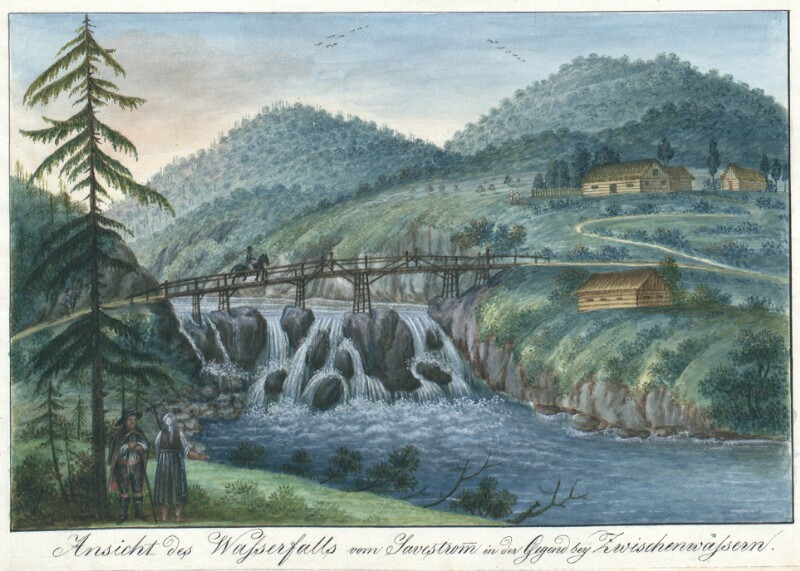 Ansicht des Wasserfalls vom Savestrom in der Gegend bey Zwischenwässern von Schaffenrath, Alois