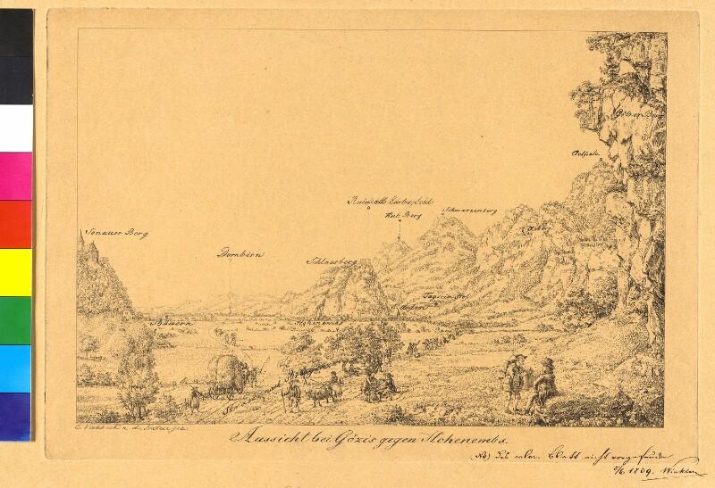 Rheintal: Hohenems von Götzis aus gesehen von Viehbeck, Karl Ludwig Friedrich