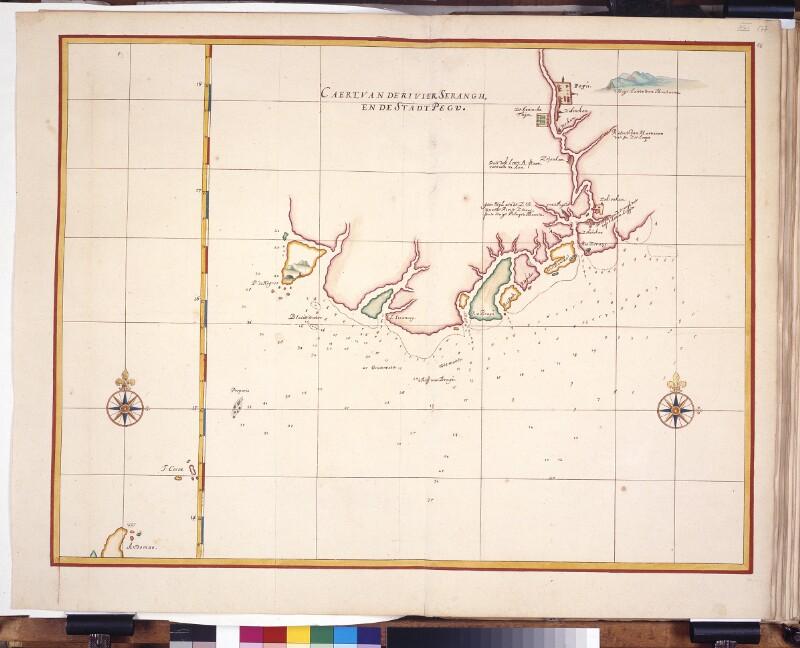 Landkarte der Mündung des Irrawaddy und der Stadt Pegu (Bago) von Vingboons, Johannes