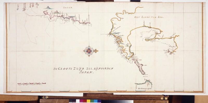 Karte der Entdeckungsreisen von Maerten Gerritsz. Vries von Vingboons, Johannes