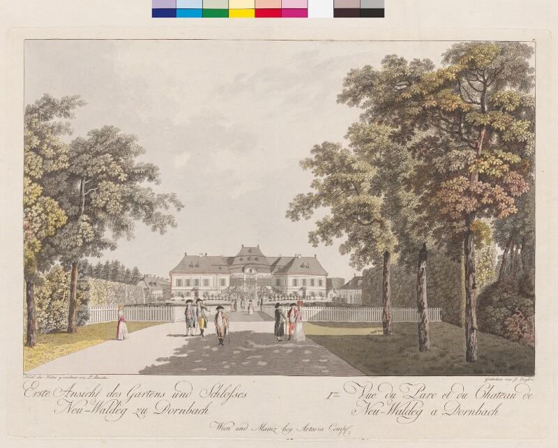 Erste Ansicht des Gartens und Schlosses Neu-Waldeg zu Dornbach.  Ire Vue du Parc et du Chateau de Neu-Waldeg à Dornbach von Janscha, Lorenz