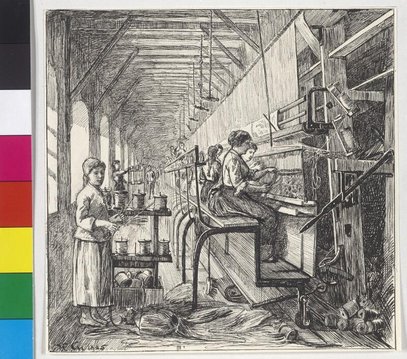 Teppichknüpfen in der Fabrik zu Ebergassing von Charlemont, Hugo