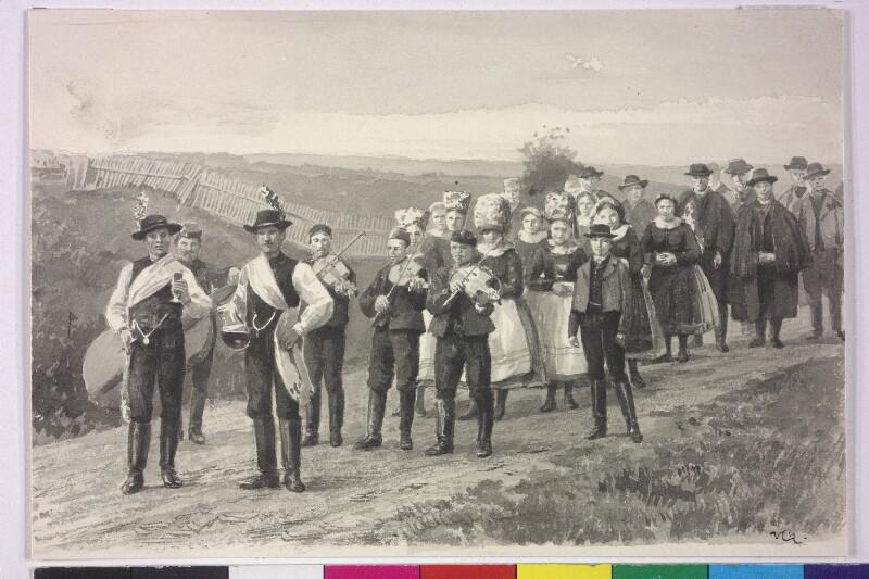 Bäuerlicher Hochzeitszug bei Iglau (Jihlava) von Charlemont, Hugo