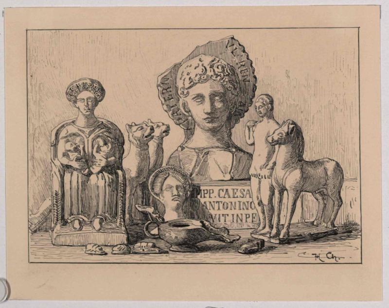 Römische Funde - Tonfiguren und Bronzegegenstände von Charlemont, Hugo