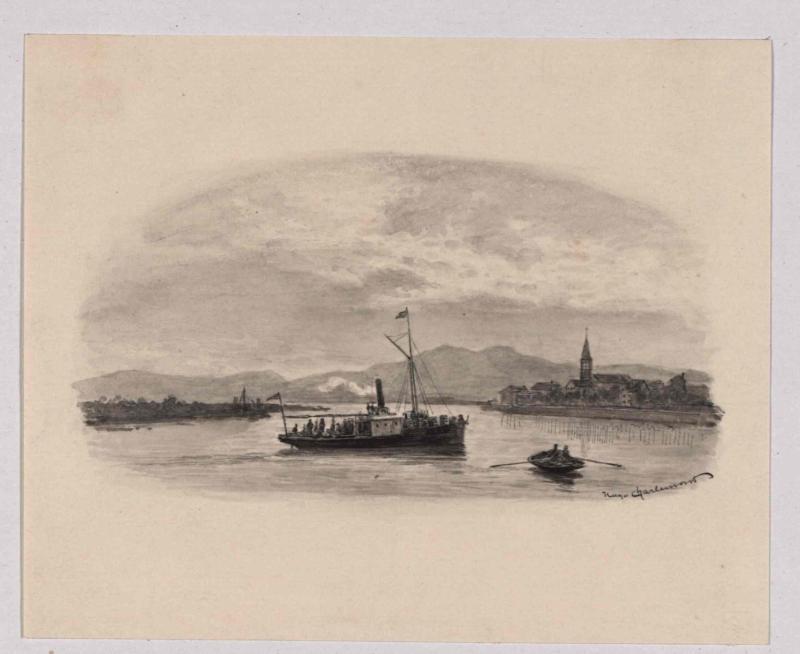 Postdampfer auf der Narenta bei Fort Opus von Charlemont, Hugo