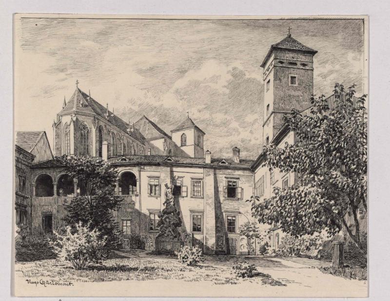 Hof des alten Franzens-Museums und Kathedrale in Brünn von Charlemont, Hugo