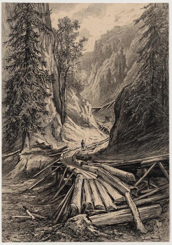 Holzriese 'in der Eng' bei Reichenau von Julius Mařák