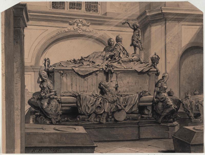 Balthasar Ferdinand Moll: Sarkophag Kaiserin Maria Theresia und Kaiser Franz I. Stephan in der Kapuzinergruft in Wien von Siegl, Karl Ritter von