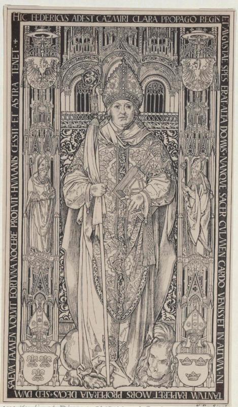 Gravierte Platte vom Grabmal des Kardinals Friedrich in der Kathedrale in Krakau von Siegl, Karl Ritter von