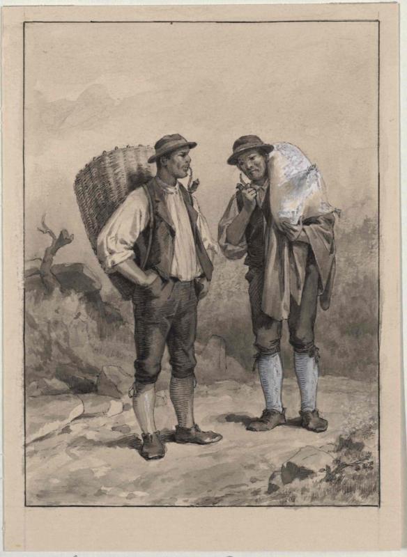 Gebirgsbewohner mit Rückenkorb und Sack von Šubic, Janez