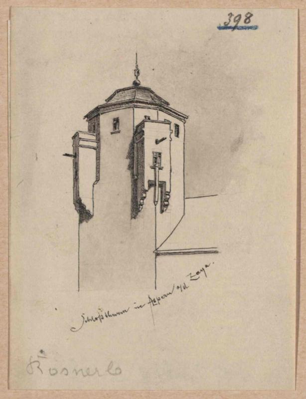 Turm von Schloss Asparn an der Zaya von Rosner, Karl