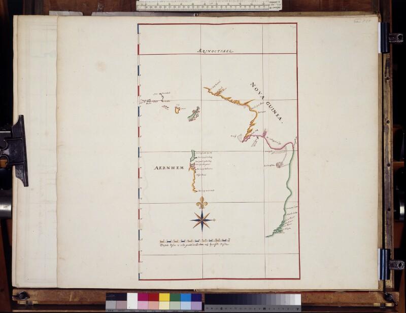 Karte der Entdeckungen der Arnhem in Australien von Vingboons, Johannes