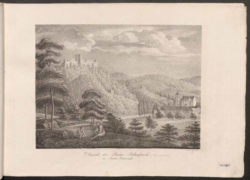 Ansicht der Ruine Scharfeneck in Nieder-Österreich (bei Hof am Leithagebirge) von Kunike, Adolf