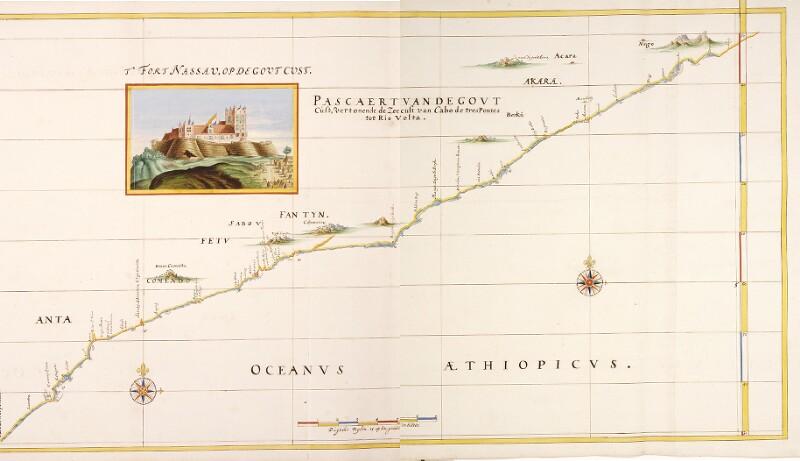 Landkarte der Goldküste mit einer Ansicht des Fort Nassau von Vingboons, Johannes