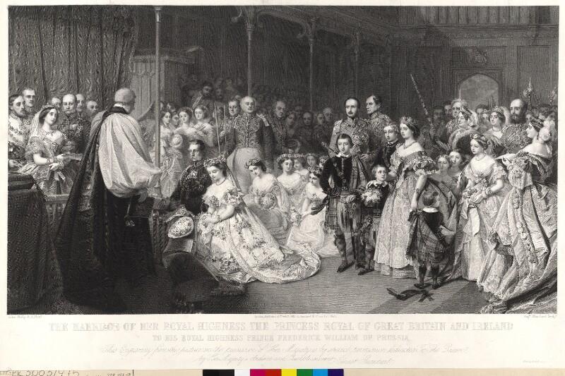 Die Hochzeit Kaiser Friedrichs III. mit Viktoria, Princess Royal von England, am 25.1.1858 in der Kapelle des St. James' Palace in London von Blanchard, Auguste Thomas Marie