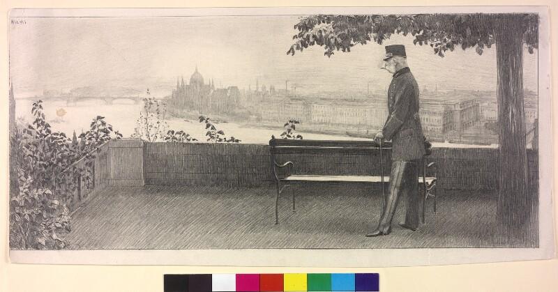 Franz Joseph I., Kaiser von Österreich, im Garten der Burg zu Ofen von Halmi, Arthur Lajos