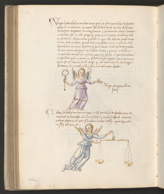 Cod. 3394, fol. 216v: Sammelhandschrift (Geographische und astronomische Schriften): Sternbild Jungfrau und Waage