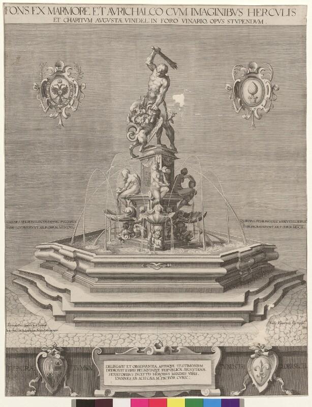 Fons ex Marmore et Aurichalco cum Imaginibus Herculis et charitum Augustae Vindel. in foro Vinario, opus stupendum von Kilian, Wolfgang