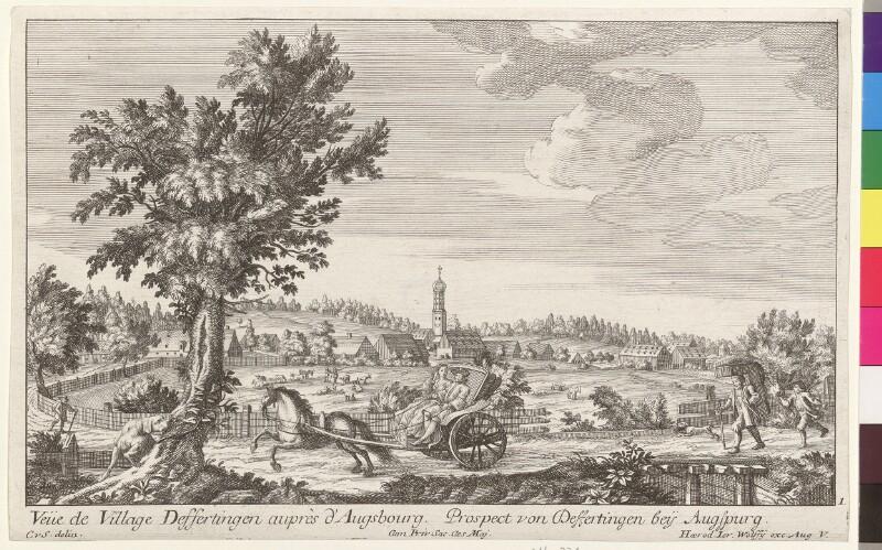 Veue de Village Deffertingen auprès d'Augsbourg. Prospect von Deffertingen bey Augspurg von Schumann, Christian