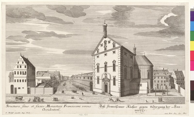 Das Franciscaner Kloster gegen Nidergang der Sonnen. - Structura situs et facies Monasterij Franciscani versus Occidentem