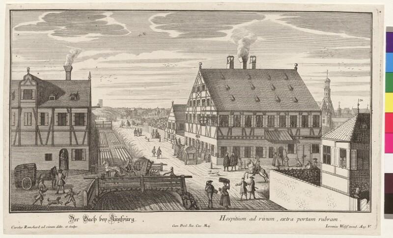 Der Bach bey Augspurg. - Hospitium ad rivum, extra portam rubram von Remshard, Karl