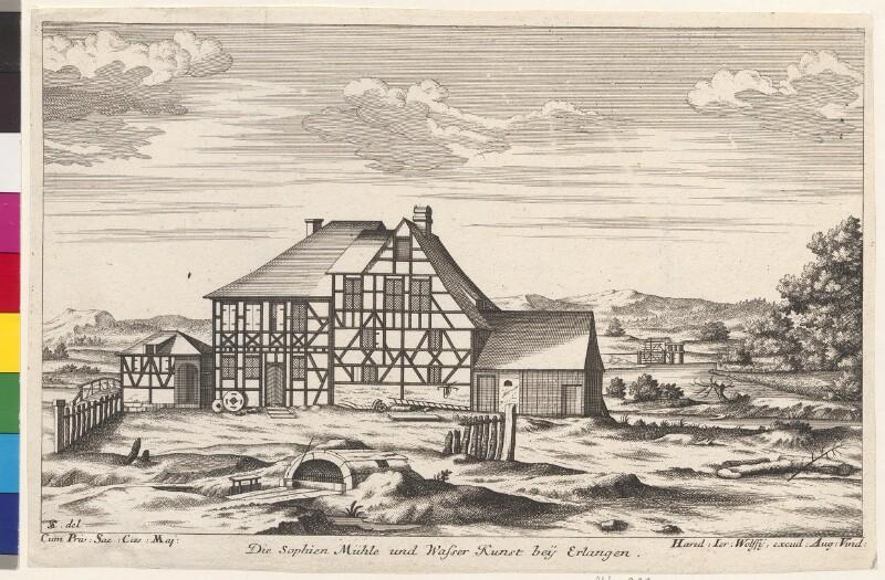 Die Sophien Mühle und Wasser Kunst bey Erlangen von Schumann, Christian