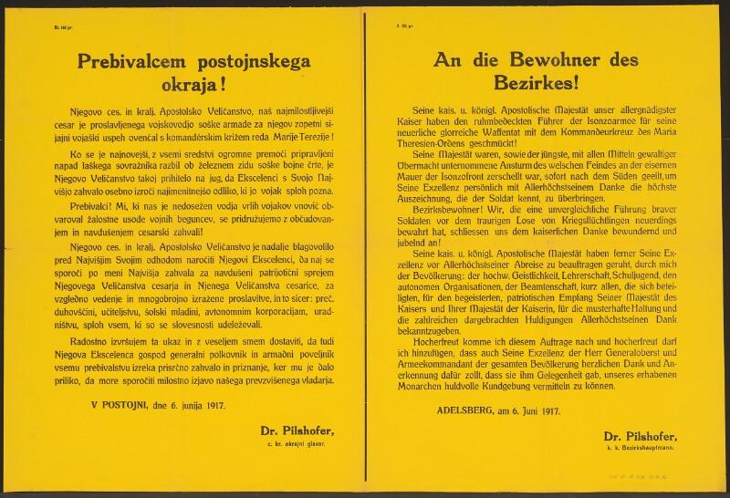 An die Bewohner des Bezirkes Adelsberg - Kommandeurkreuz des Maria-Theresien-Ordens - Adelsberg